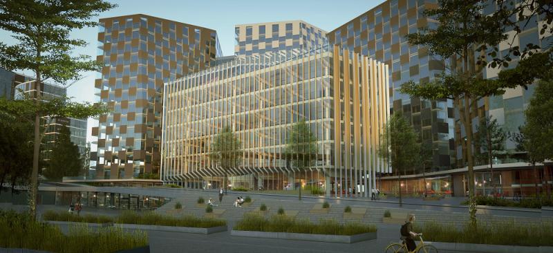 Valle Wood blir Norges største kontorbygg i massivtre. Illustrasjon: Lund+Slaatto